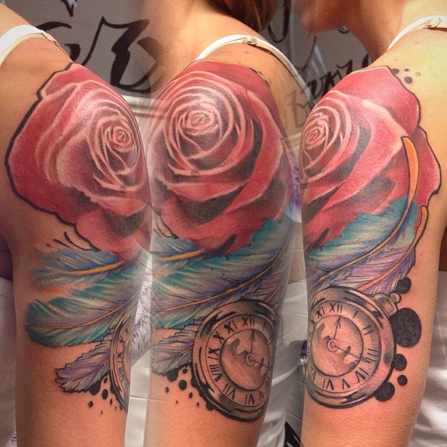 Flower, Feather, & Time Piece