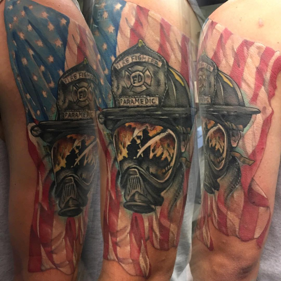 Fire fighter reflections bobby ink tattoos